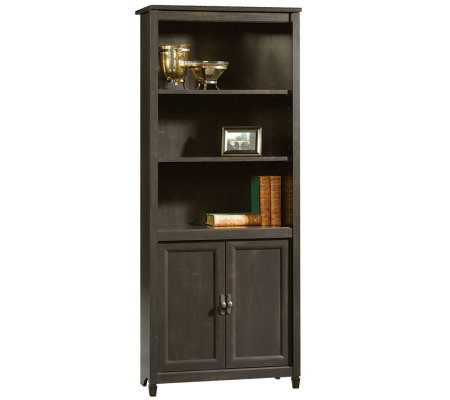 Sauder Edge Water Collection Library w/Doors -Estate Black