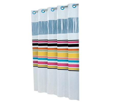 Hookless Between The Lines Shower Curtain W Vinyl Window Page 1