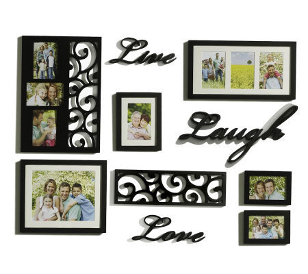 Melannco 10 piece live laugh love word frame wall decor for Decoration word