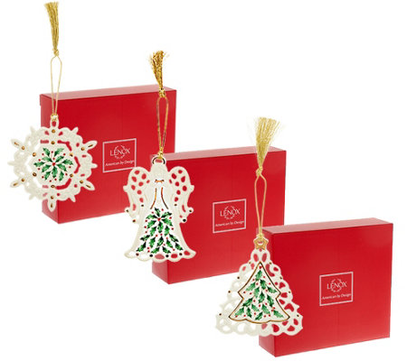 Lenox S/3 Holiday Porcelain Ornaments with Gift Boxes