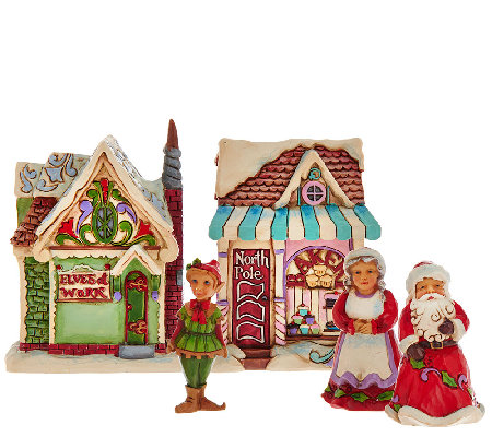 Jim Shore Heartwood Creek Set of 5 Mini Christmas Village Houses