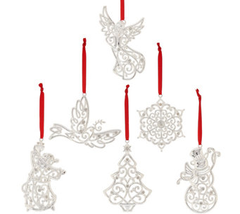 Lenox Set of 6 Silver Plated Sparkle & Scroll Ornaments - H208524