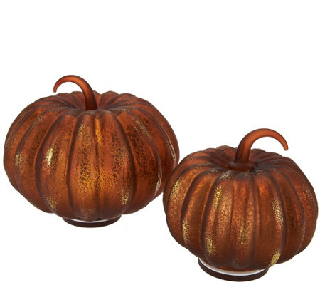 "6"" and 8"" Illuminated Glass Pumpkin Set by Valerie"