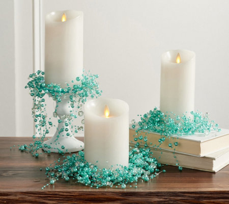Set of 3 Cascading Pearl Candle Rings by Valerie