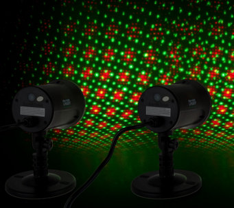 StarNight Magic Set of 2 Outdoor/Indoor Dancing Dual Laser Lights - H210524