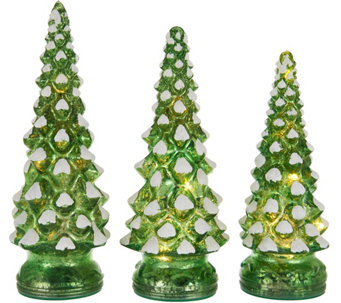"""As Is"" Set of 3 Lit Twinkling Mercury Glass Trees by Valerie - H211124"