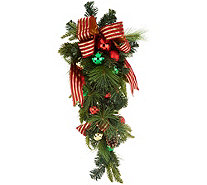 "36"" Ornament, Ribbon and Pine Decorative Teardrop by Valerie - H211824"
