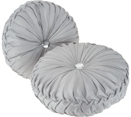 """As Is"" Casa Zeta-Jones Set of 2 Round Ruched Pillows"
