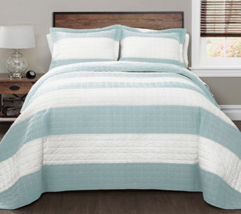Blue/White Stripe 3-Piece King Quilt Set by Lush Decor - H290624