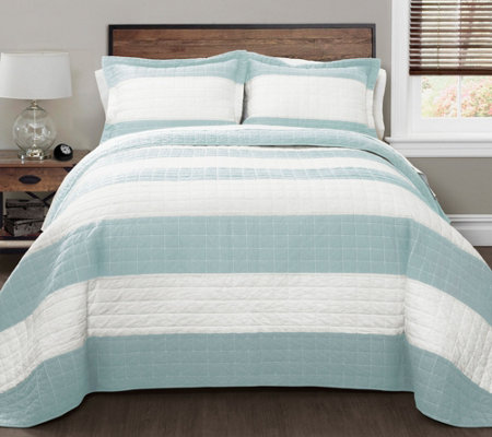 Blue/White Stripe 3-Piece King Quilt Set by Lush Decor