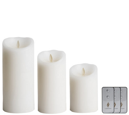 "Luminara 5"", 7"" and 9"" Flameless Candles with (3) Remotes"