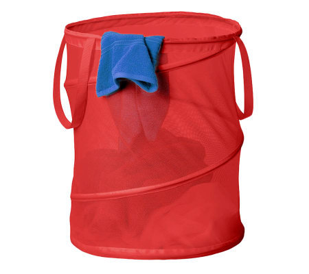 Honey-Can-Do Large Mesh Pop-Open Spiral Hamper- Red