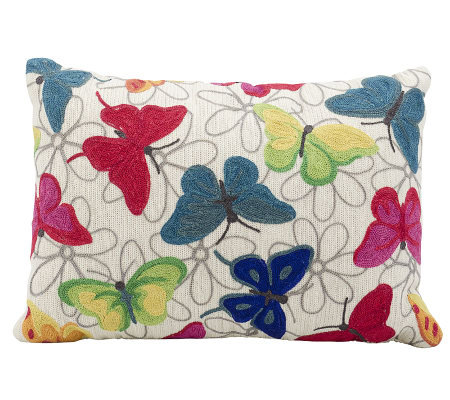 Mina Victory Colorful Butterflies 14x20 Wool/Polyester Pillow