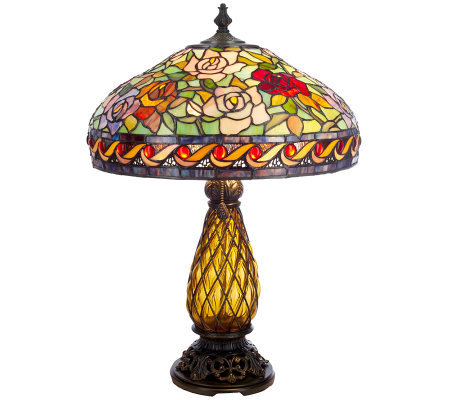 "J.J. Peng Stained Glass VictorianGarden 26"" Table Lamp w/ Glass Base"