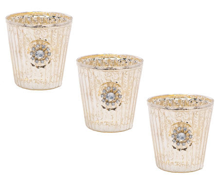 Treasures by Shabby Chic Set of 3 Mercury Glass Votives