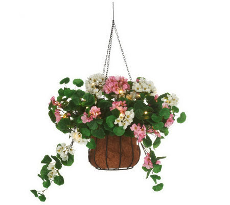 Bethlehem Lights Battery Op. Geranium Basket w/ Metal Chain
