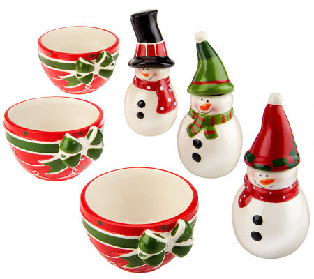 6-piece Ceramic Dip Bowl & Snowman Spreader Knife Set by Valerie