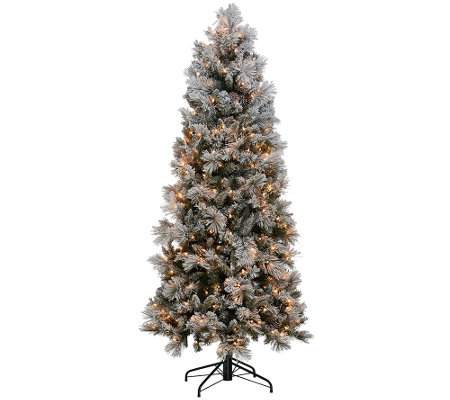 Kringle Express Flocked 6.5' Winter Slim Christmas Tree