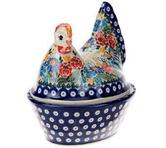Lidia's Polish Pottery Stoneware Chicken Container - H206125