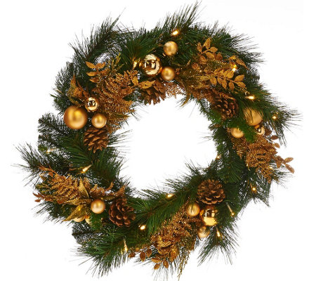 "20"" Illuminated Mixed Greens Wreath with Metallic Embellishments"