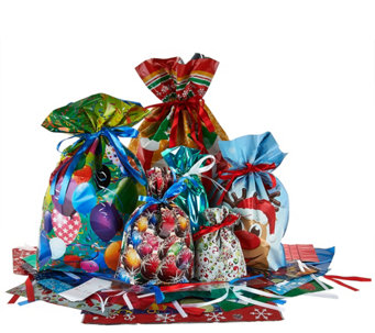 Kringle Express 50 Piece EZ Drawstring Gift Bag Set with Tags - H208525