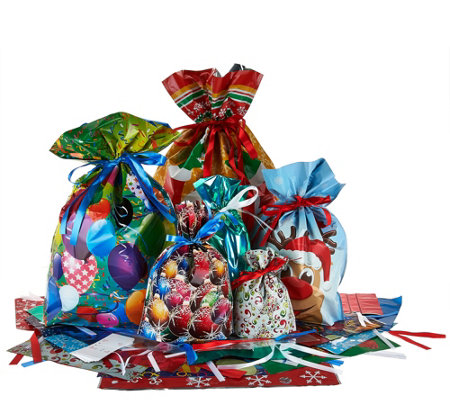 Kringle Express 50 Piece EZ Drawstring Gift Bag Set with Tags