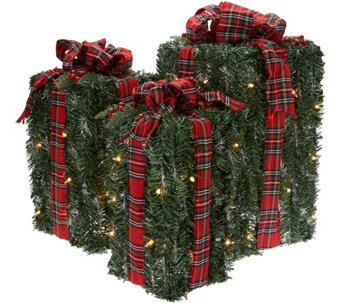Kringle Express S/3 Graduated Outdoor/Indoor Lit Greenery Presents - H210125