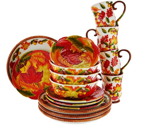 """As Is"" Temp-tations Pumpkin or Harvest 16 pc Dinnerware Set"