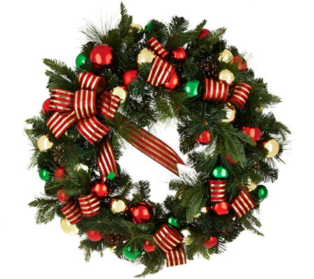 "32"" Oversized Ornament, Ribbon and Pine Wreath by Valerie"