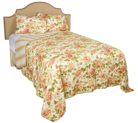 Classic Floral 100% Cotton Quilt with Shams and Storage Bin