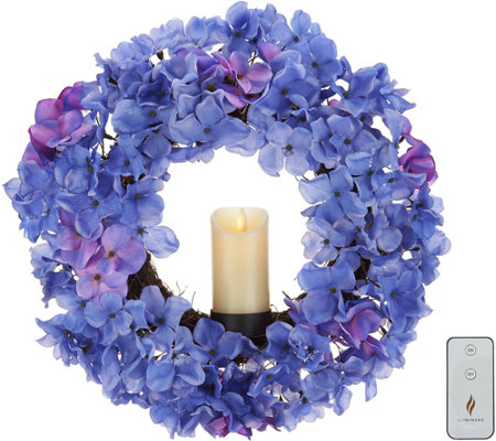 "Luminara Faux Floral 15"" Wreath w/ 2""x3"" Wax Pillar & Remote"
