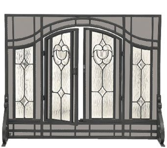 Plow & Hearth Small Floral Fireplace Screen w Glass Panel Door - H287425