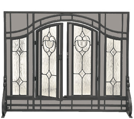 Plow & Hearth Small Floral Fireplace Screen w Glass Panel Door