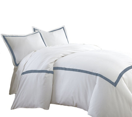 Pacific Coast Textiles 600TC KG 3-Piece Satin Ribbon Duvet Set