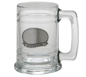Usher Glass Tankard w/Stainless Steel Plate - H348725