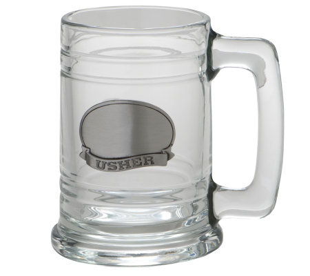Usher Glass Tankard w/Stainless Steel Plate