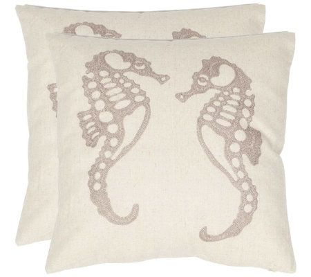 "Safavieh Set of 2 18""x18"" Dahli Seahorse Applique Pillows"