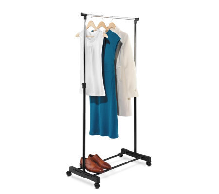 Honey-Can-Do Adjustable Height Garment Rack - Chrome/Black