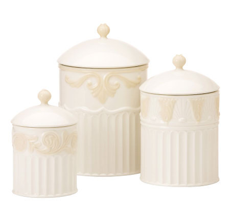 Lenox butler39s pantry canisters set 3 qvccom for Lenox butlers pantry canisters