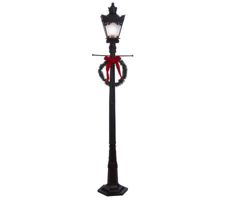 "48"" Lit Old Fashioned Street Lamp with Wreath by Valerie"