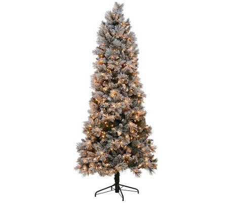 Kringle Express Flocked 7.5' Winter Slim Christmas Tree