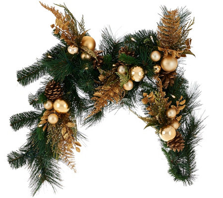 4' Illuminated Mixed Greens Garland with Metallic Embellishments