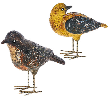 ED On Air Set of 2 Clay Birds with Metal Feet by Ellen DeGeneres