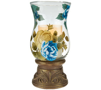 "10"" Handpainted Glass Hurricane with Flameless Candle by Home Reflections - H207626"