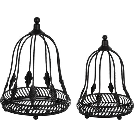 Set of 2 Metal Cloches with Mirror Inserts by Home Reflections