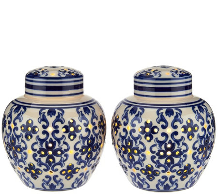 Set of 2 Illuminated Porcelain Ginger Jars by Valerie