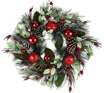 "22"" Pinecone, Berry and Ornament Wreath by Valerie - H208726"