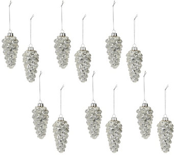 Set of 12 Frosted Glitter Pinecone Ornaments by Valerie - H209126