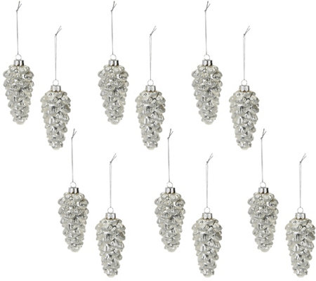 Set of 12 Frosted Glitter Pinecone Ornaments by Valerie