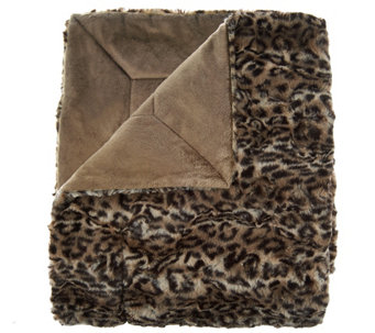 Dennis Basso 68x60 Oversized Sculpted Faux Mink Throw - H209226